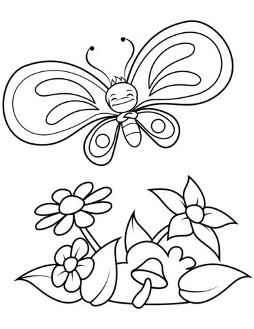 fiori e farfalle da colorare