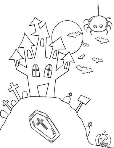casa di Halloween con pipistrelli