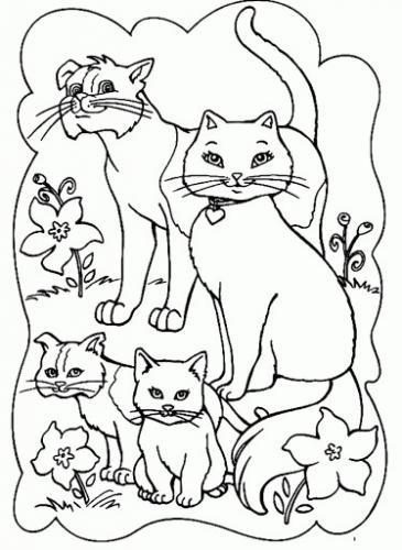 famiglia di gatti da colorare