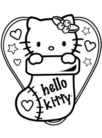 hello kitty natale da colorare