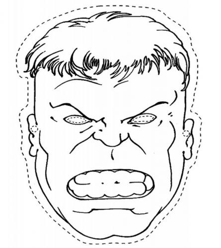 Hulk maschere di Carnevale da colorare Avengers