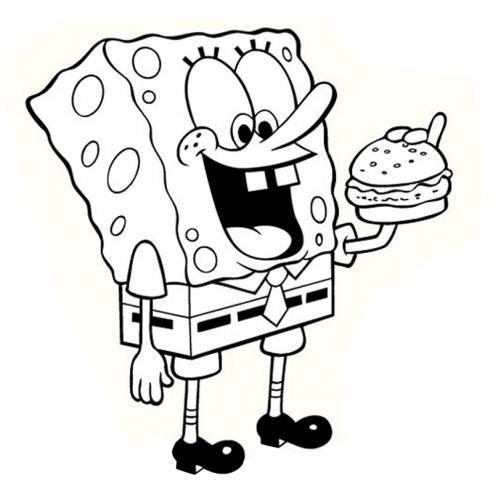 Spongebob che mangia un panino