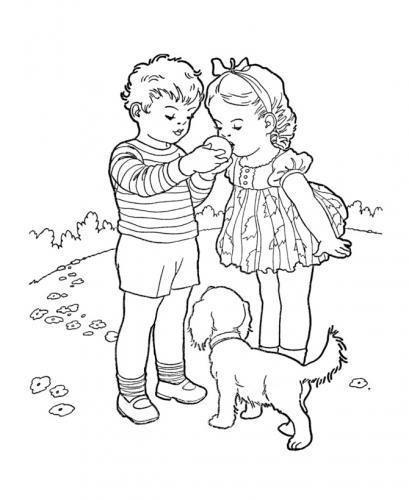 bambini che giocano con cane