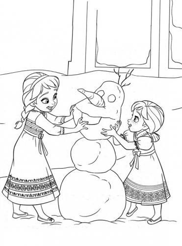 Anna ed Elsa giocano a fare un pupazzo di neve