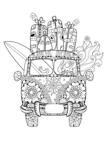 furgoncino decorato con fiori