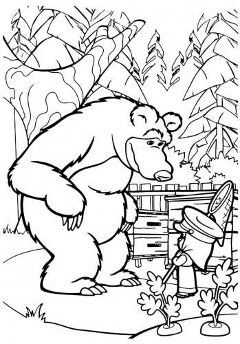 Masha e Orso parlano in giardino
