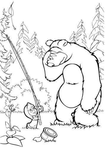 Orso e Masha pescano