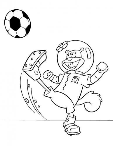 Sandy gioca a calcio