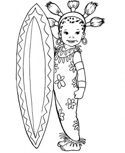 bambina con tavola da surf