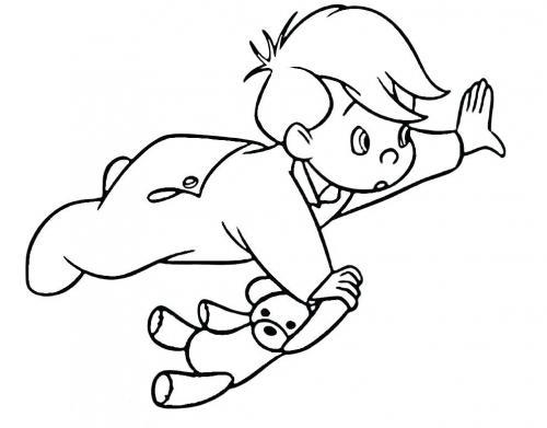 Michele vola con il suo orsacchiotto