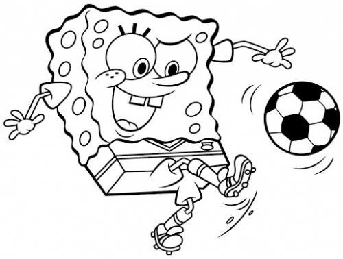 Spongebob dà un calcio al pallone