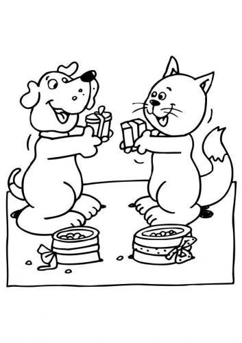 immagini di cani e gatti da colorare