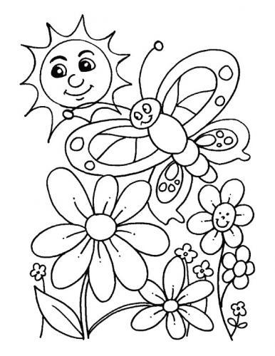 immagini di fiori e farfalle da colorare