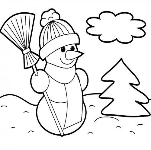 paesaggio con un pupazzo di neve