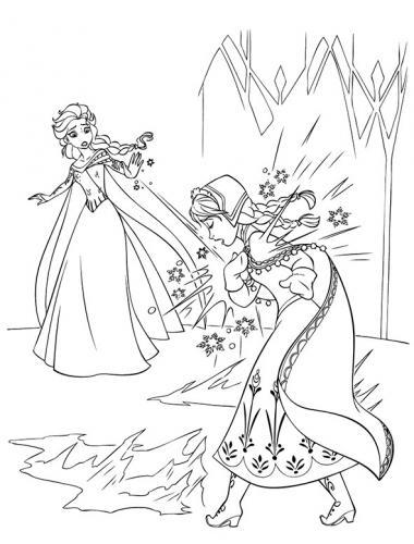 Elsa colpisce Anna con il ghiaccio