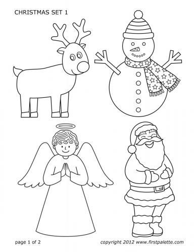 Renna, pupazzo di neve, angelo e Babbo Natale