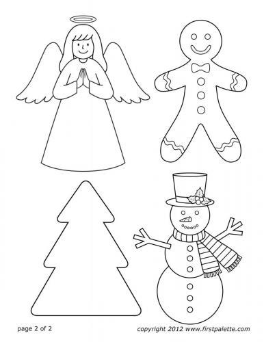 Angelo, pan di zenzero, albero di Natale e pupazzo di neve