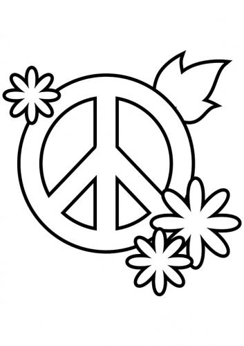 simbolo pace con fiori