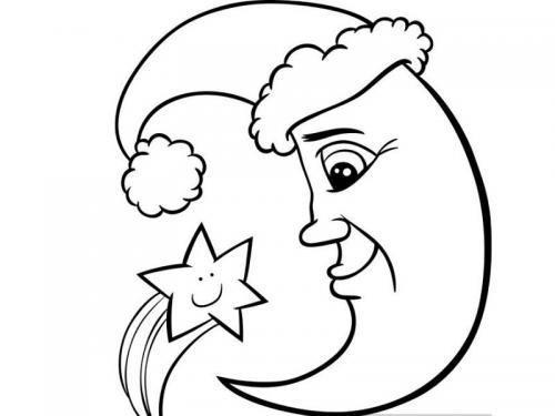 luna con cappellino e stella
