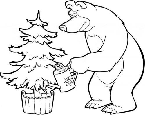 masha e orso disegni da colorare Natale