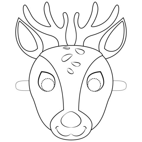 maschera di carnevale da colorare cervo