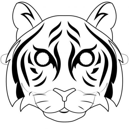 maschera tigre da colorare