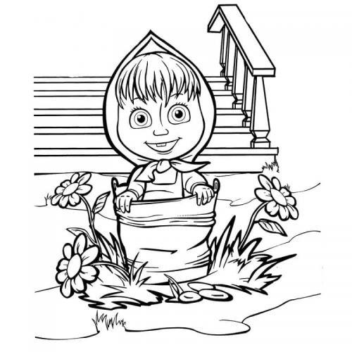 Masha in giardino dentro un secchio