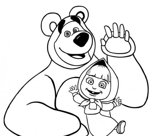 Masha e Orso salutano sorridenti