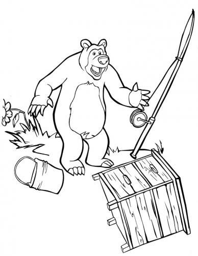 Masha fa arrabbiare Orso durante la pesca