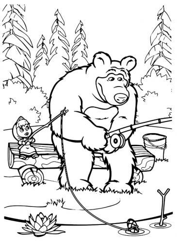 Orso pesca seduto sulla panchina con Masha