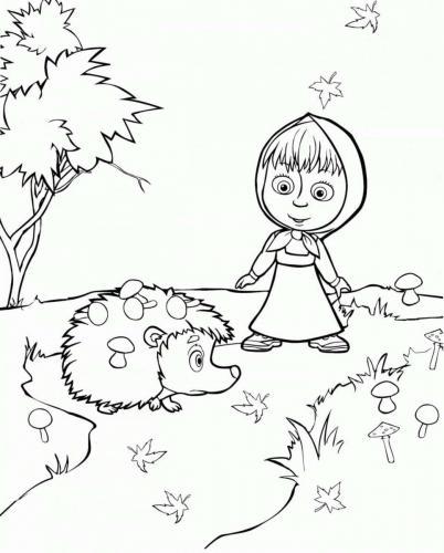 Masha in giardino con il porcospino