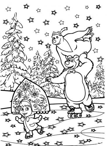 Masha, Orso e Orsa pattinano a Natale