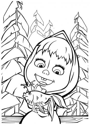 Masha sorridente con un pesciolino