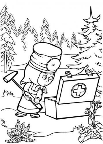 Masha con la cassetta del pronto soccorso