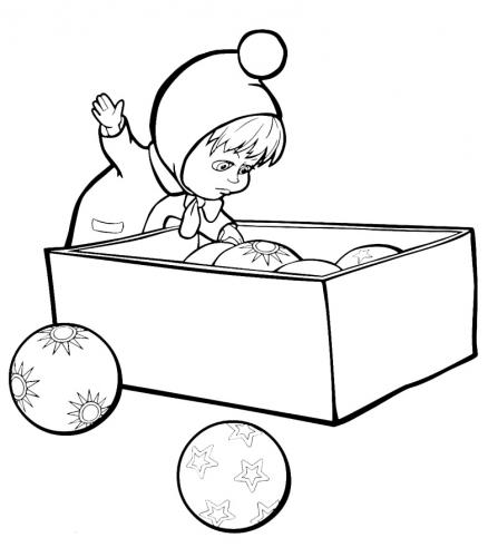 Masha apre la scatola con le decorazioni di Natale