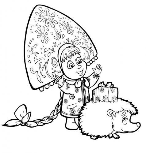 Masha e il porcospino con un regalo di Natale