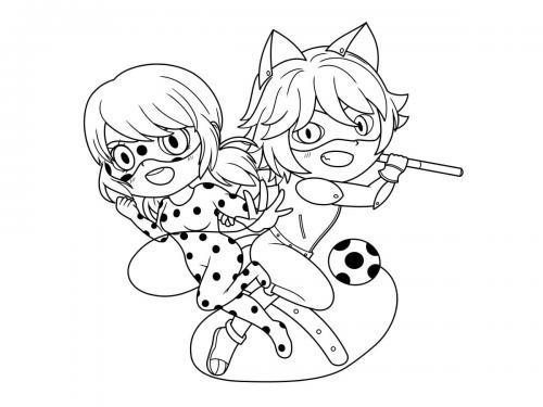 Miraculous Ladybug e Chat Noir da-colorare