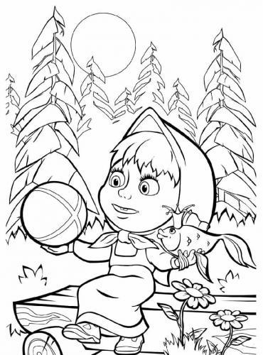 Masha nel bosco con il pesciolino e una palla