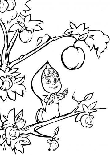 Masha raccoglie una mela