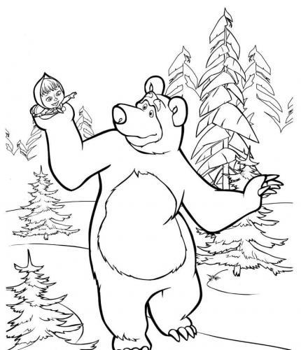 Masha e Orso contenti sulla neve