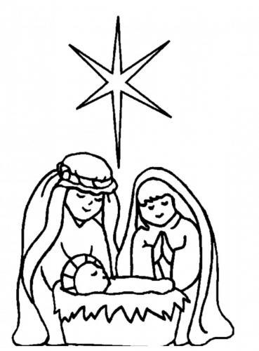 Presepe stilizzato con Maria, Giuseppe, Gesù bambino e la stella