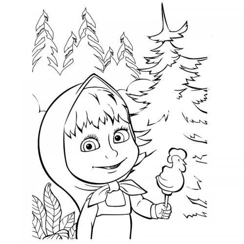 Masha felice nel bosco