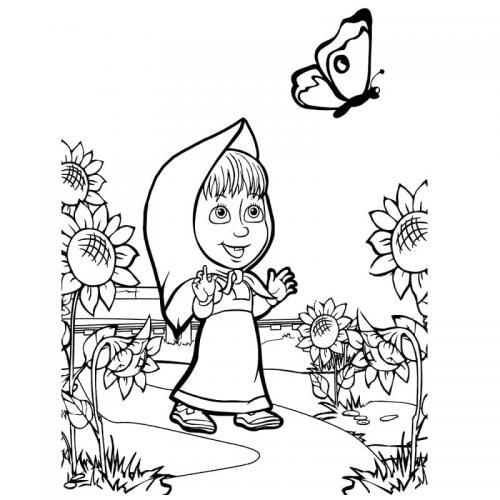 Masha guarda una farfalla