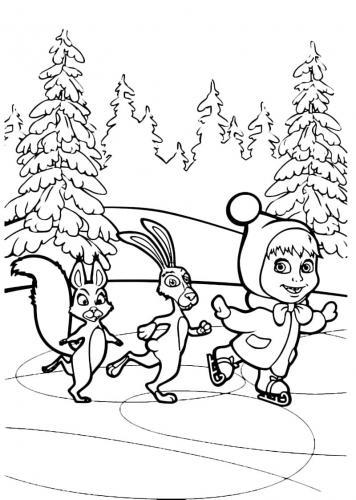 Masha pattina con la famiglia di coniglio