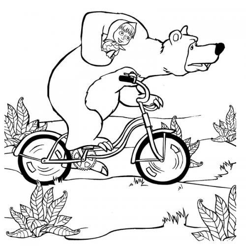 Orso corre in bicicletta con Masha