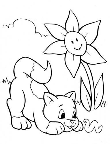 gattino che gioca nel prato fiorito