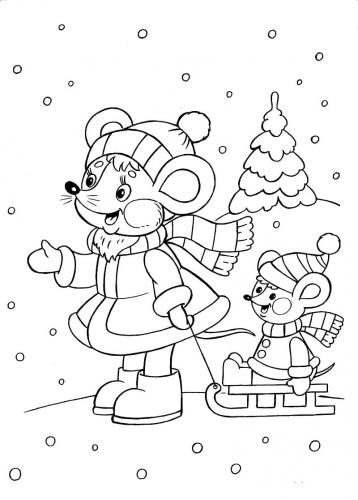 topolini che giocano sulla neve