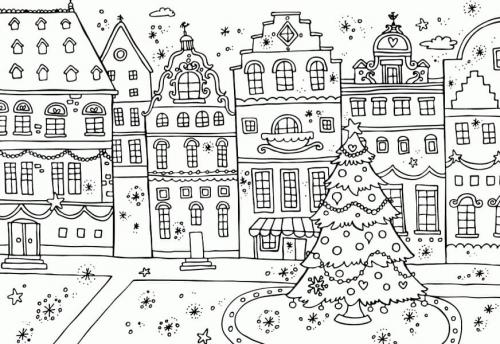disegno natalizio della città