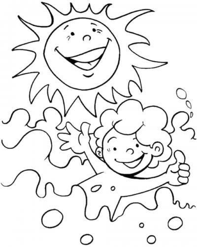 disegno di bambini che nuotano