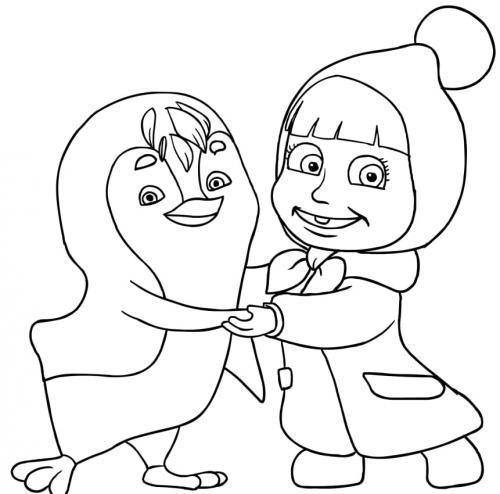 Masha abbraccia il pinguino